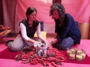 Tamara and Verity prepariing